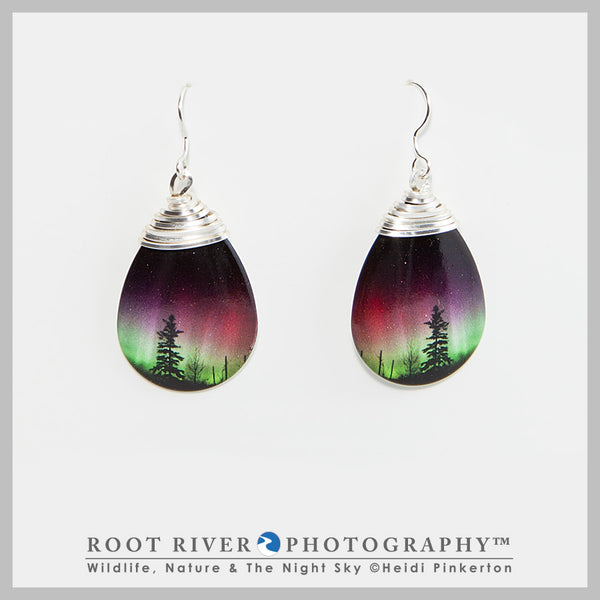 Forest of Lights Teardrop Earrings with Wire Adornment