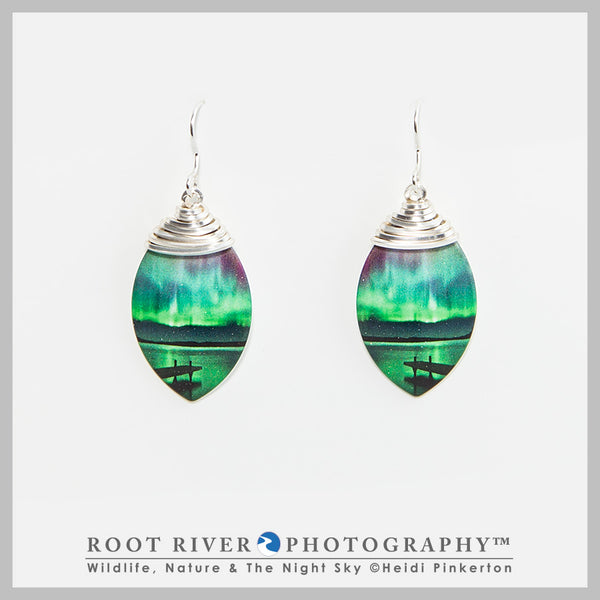 Border Patrol Leaf Earrings with Wire Adornment