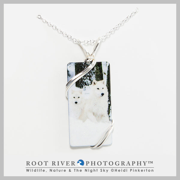 Arctic Wolf Pup Rectangle Necklace