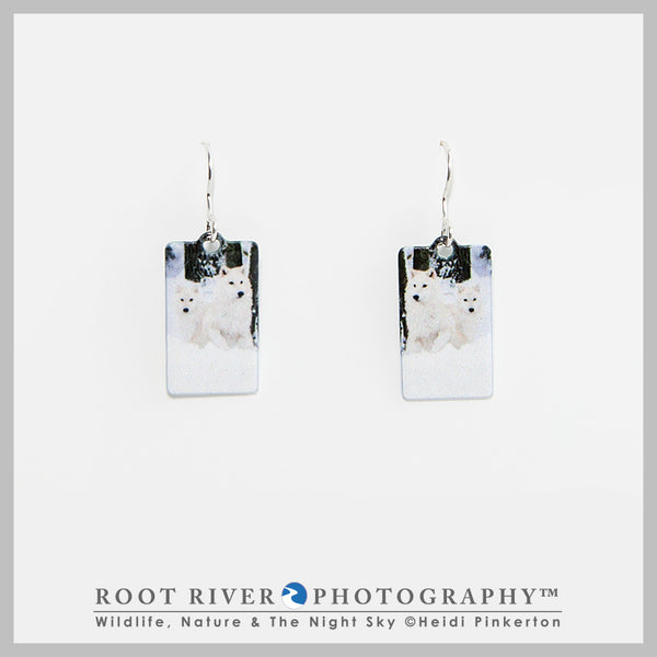 Arctic Wolf Pup Rectangle Earrings