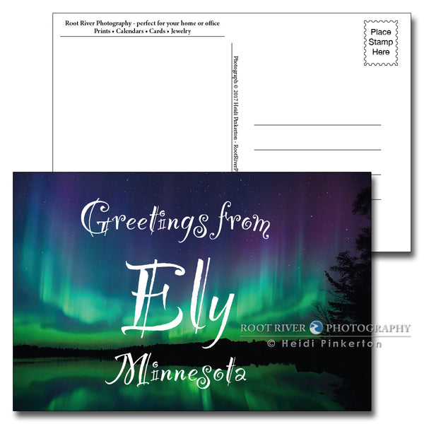 Ely, Minnesota Candelabra Northern Lights Postcard