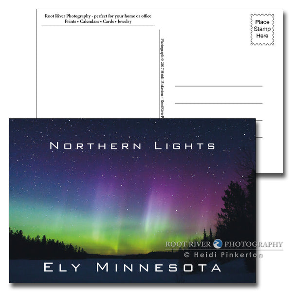 Ely, Minnesota Howling from the Heavens Northern Lights Postcard