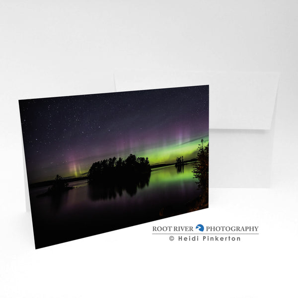 Night Sky - Indian Island Silhouette Greeting Card