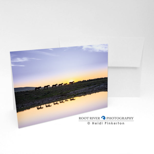 Horses - Sunrise at the Watering Hole Greeting Card
