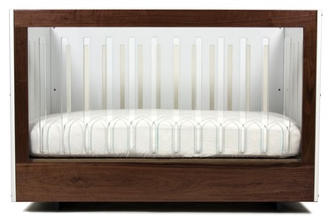 Spot on Square Roh Crib 1 Side Acrylic - Walnut/White (Special Order Item)