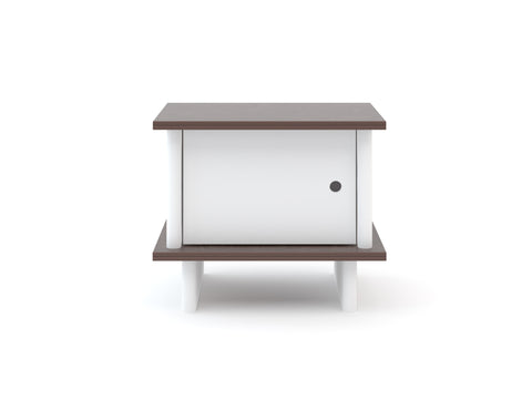 Oeuf ML Nightstand - White / Walnut (Special Order Item)