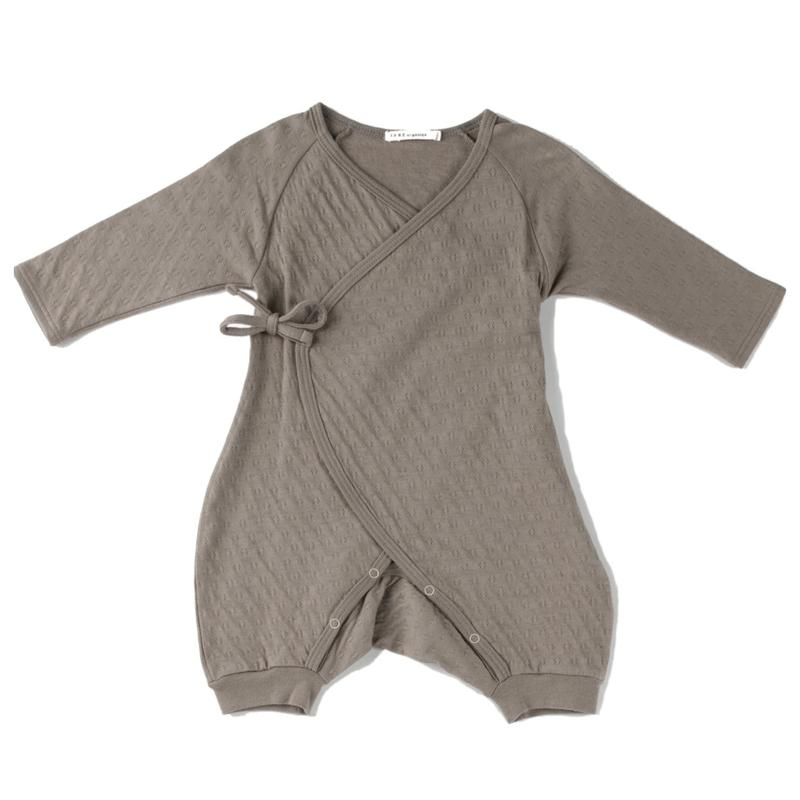 Pointelle Kimono Wrap Romper long Sleeve - Earth ( Taupe)
