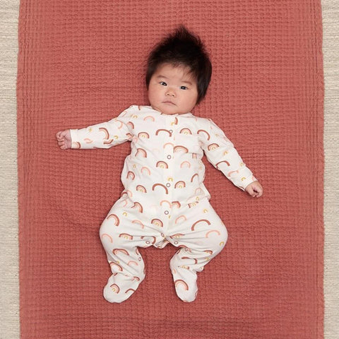 Brighton - Baby Printed Sleepsuit / Peach Rainbow