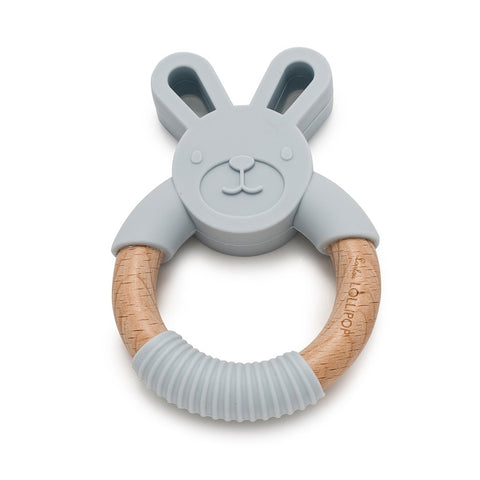 Loulou Lollipop Bunny Silicone and Wood Teething Ring - Light Grey