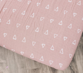 Mebie Baby Fitted Crib Sheet - Blush Triangle
