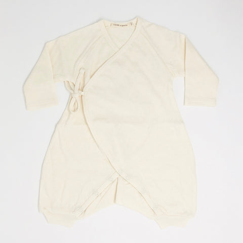Pointelle Kimono Wrap Romper Long Sleeve - Natural