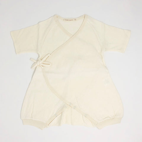 Pointelle Kimono Wrap Romper Short Sleeve - Natural