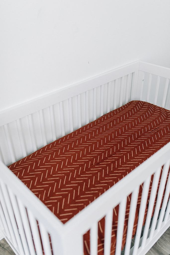 Mebie Baby Fitted Crib Sheet - Rust Mudcloth