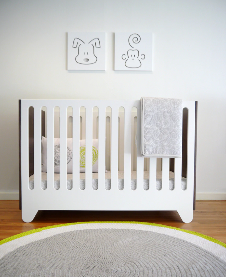 Spot on Square Hiya Crib - White w/ Walnut Ends (Special Order Item)