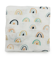Loulou Lollipop Muslin Swaddle - Neutral Rainbow