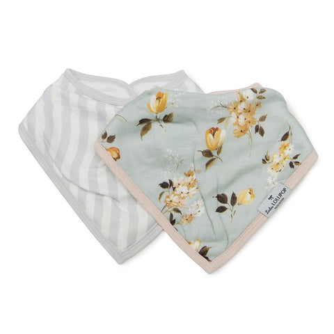 Loulou Lollipop Bandana Bib Set - Wild Rose