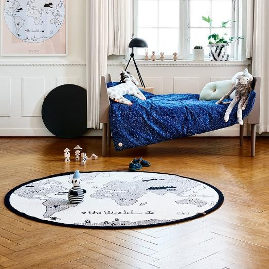 World Map Round Rug