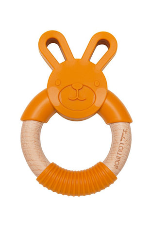 Loulou Lollipop Bunny Silicone and Wood Teething Ring - Golden