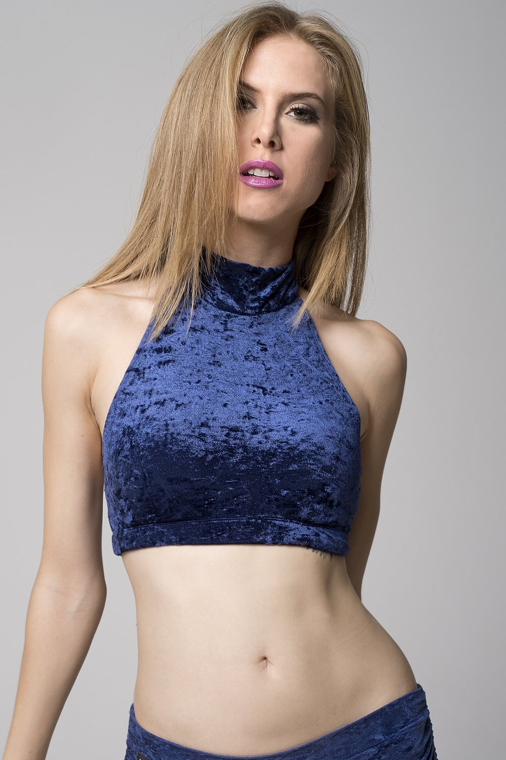 Eve top Velvet - Navy blue