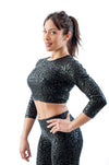 Sticky crop top superhero leopard - black