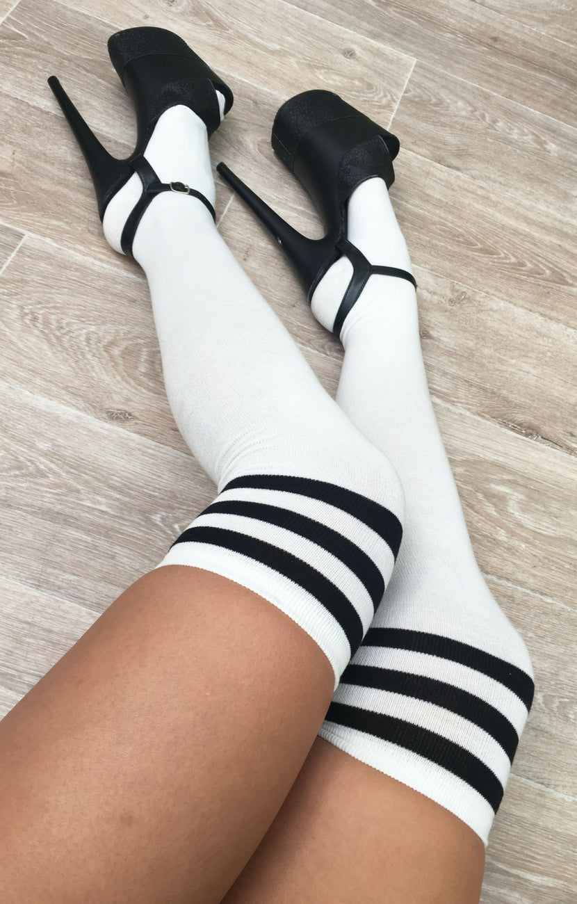 Luna thigh high socks - White/black