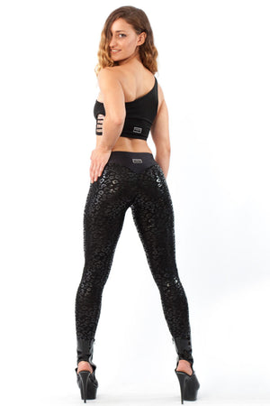 Sticky leggings superhero V-string leopard - black