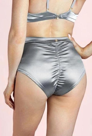 High waist basic shorts – Silver