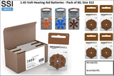 HB-Jf-3 1.45 Volt Hearing Aid Batteries - Pack of 60, Size 312