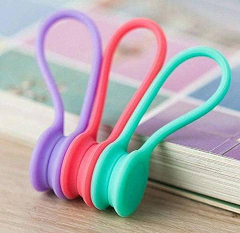 3 Pcs in Set - Reusable Magnetic Cable Ties Cord Organizers