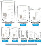Glass Beaker Set - 5 Sizes - 50ml, 100ml, 250ml, 500ml, 1000ml