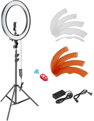 18-inch LED Ring Light Dimmable Lighting Kit with Light Stand
