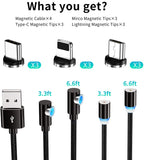 Magnetic Charging Cable,(4-Pack,1ft,3ft,3ft,6ft)3A Fast Charging Data Transfer USB Magnetic Cable
