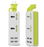 PP-CFf-3 Outlet Travel Power Strip Surge Protector with 4 Smart USB Charging Ports
