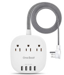 PP-EE-3 Desktop Power Strip with 3 Outlet 4 USB Ports 4.5A