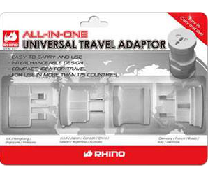 Compact multi-national travel adapter kit.