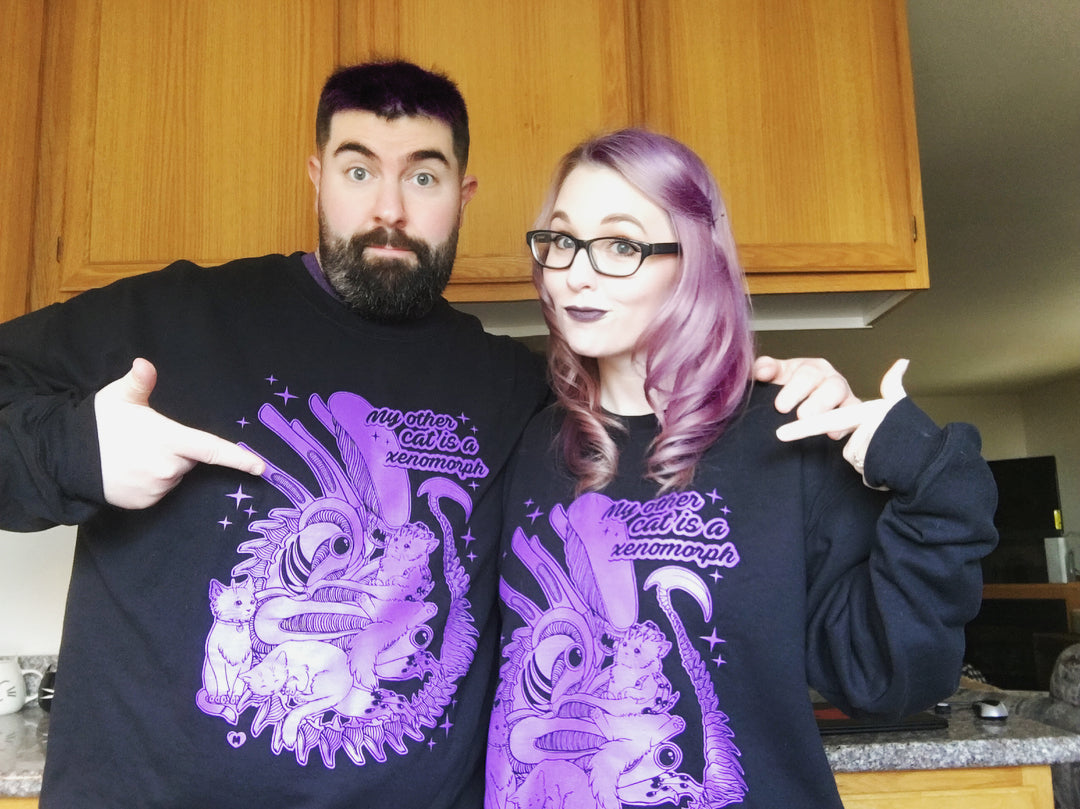 My Other Cat Is A Xenomorph Crewneck Sweater - Purple