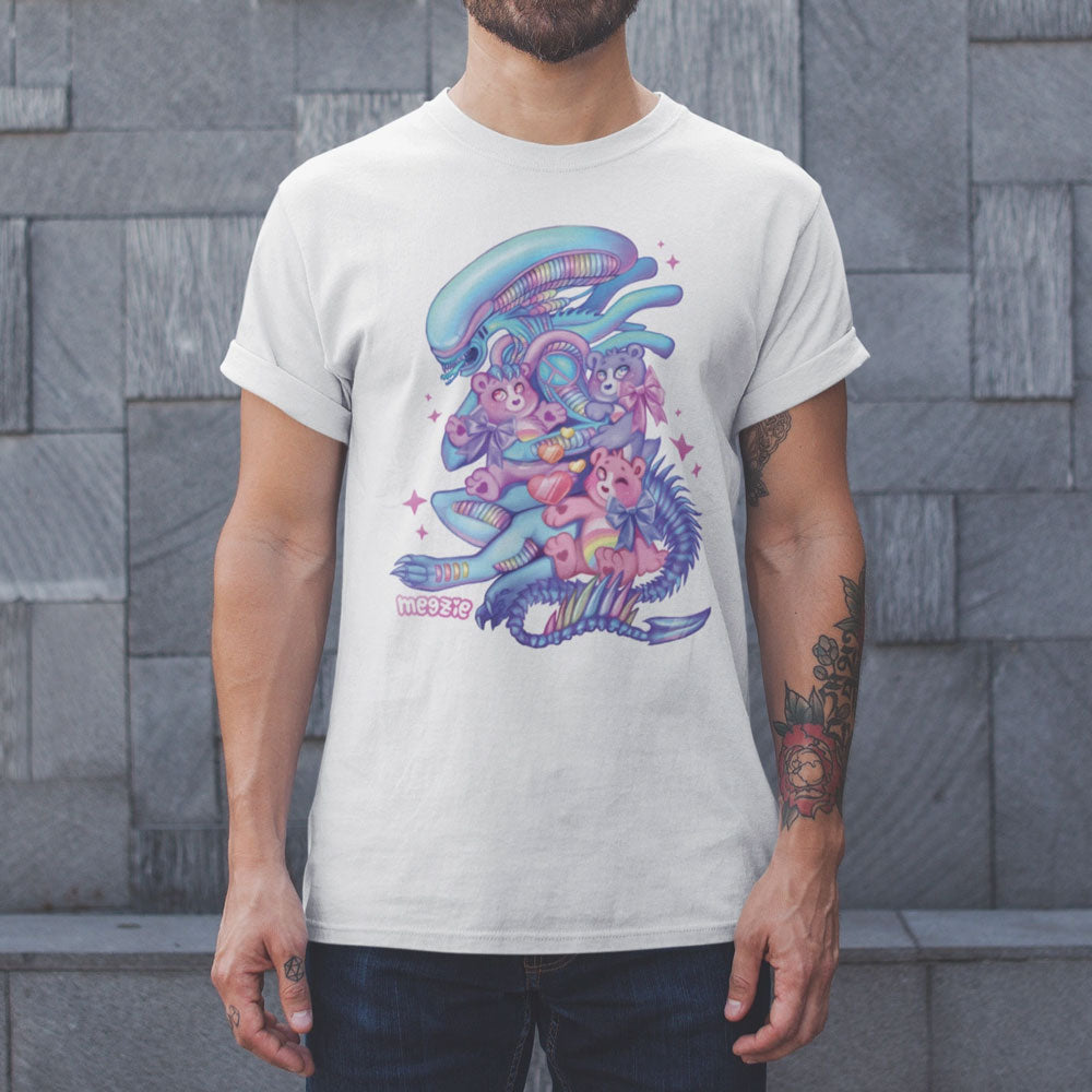 "MEGZIE ""CUDDLE TIME XENOMORPH"" UNISEX GRAPHIC TEE"