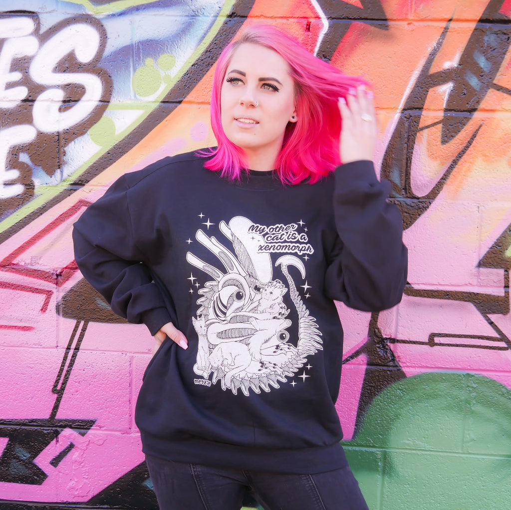 "MEGZIE ""MY OTHER CAT IS A XENOMORPH"" CREWNECK SWEATER"