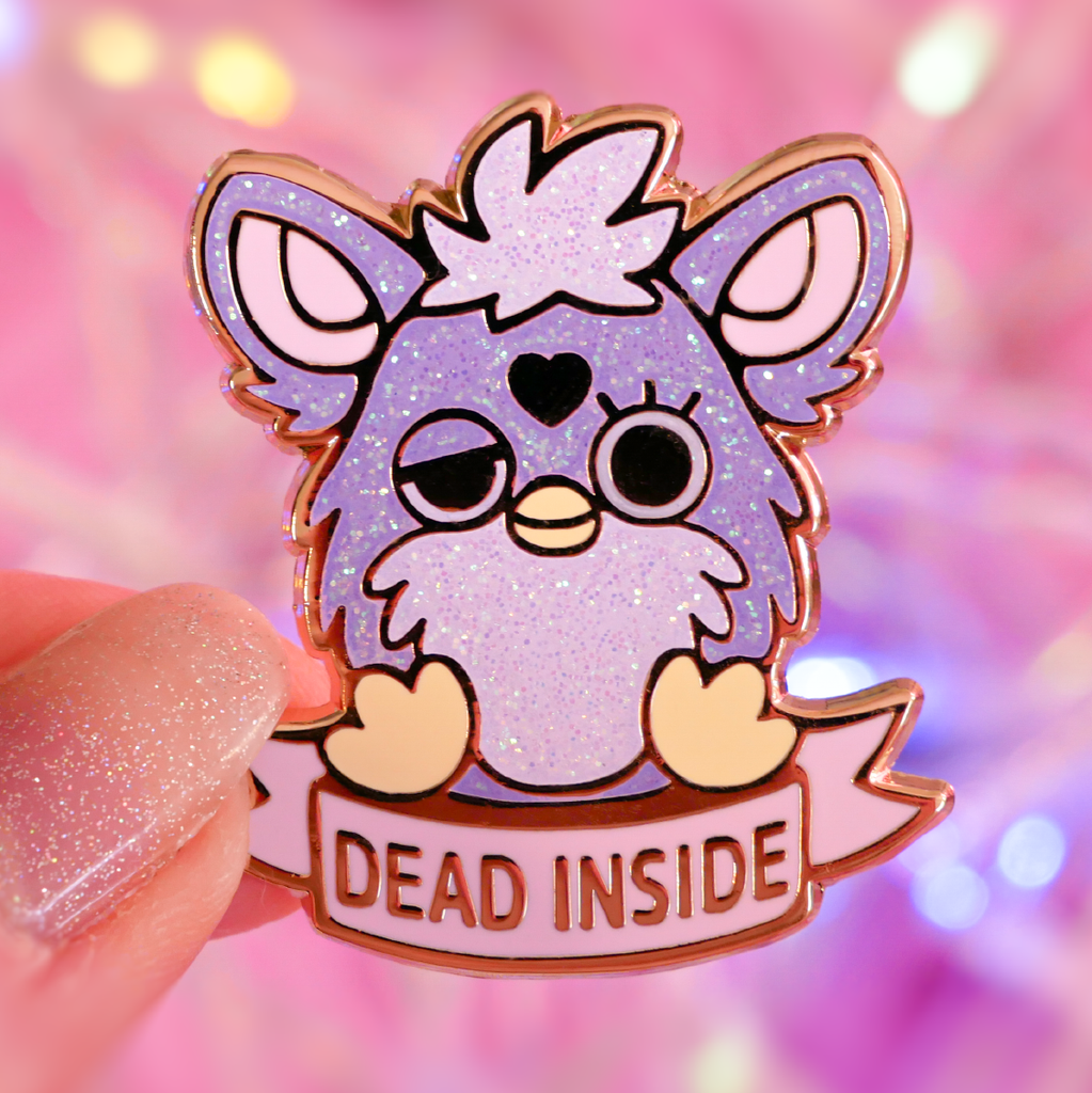 "Purple Glitter Furby ""Dead Inside"" Lapel Pin"