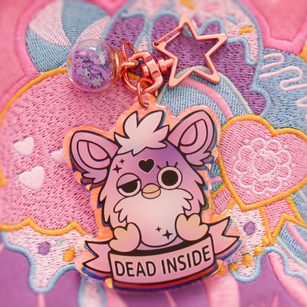 Furby Dead Inside Key-chain - Holographic Acrylic + Rose Gold Attachment
