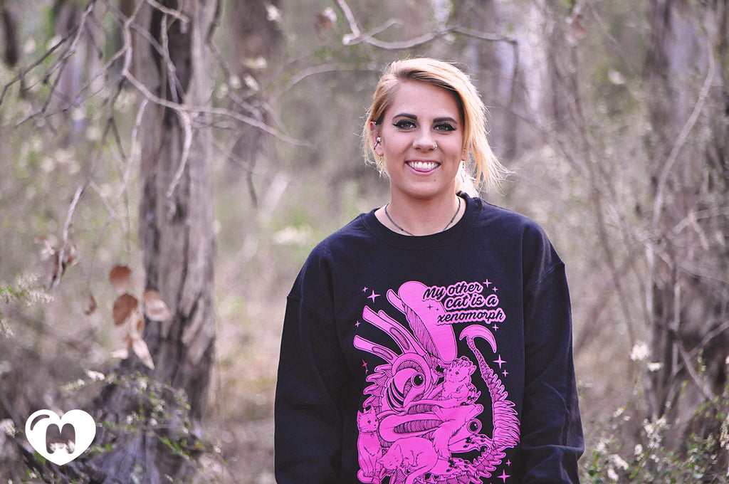My Other Cat Is A Xenomorph Crewneck Sweater - Pink