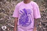 My Other Cat is a Xenomorph - T-Shirt Pink with Purple Print