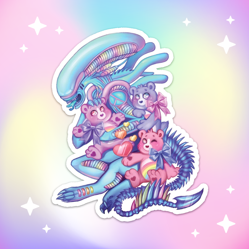 Cuddle Time Rainbow Sci-Fi Alien Matt Vinyl Sticker