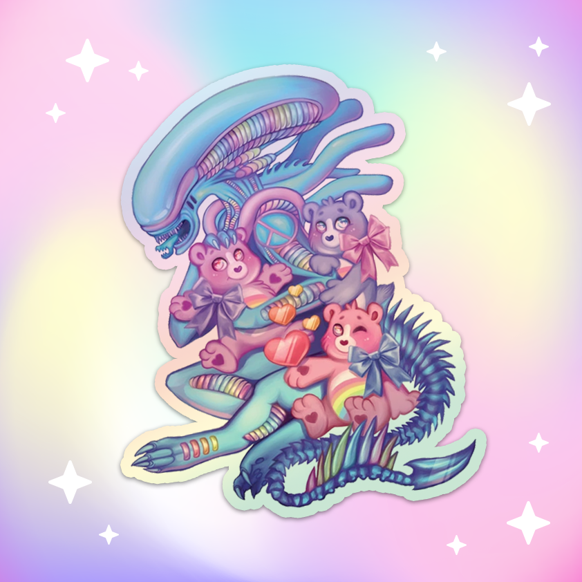 Cuddle Time Rainbow Sci-Fi Alien Holographic Vinyl Sticker