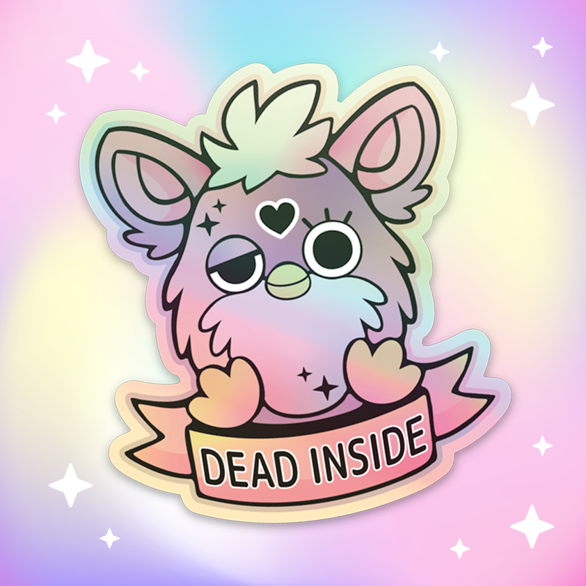 Furby Dead Inside Holographic Vinyl Sticker