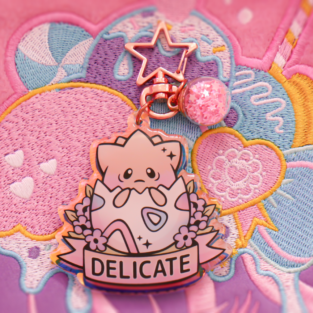 Togepi Delicate Key-chain - Holographic Acrylic + Rose Gold Attachment
