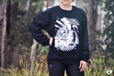 My Other Cat Is A Xenomorph Crewneck Sweater - White