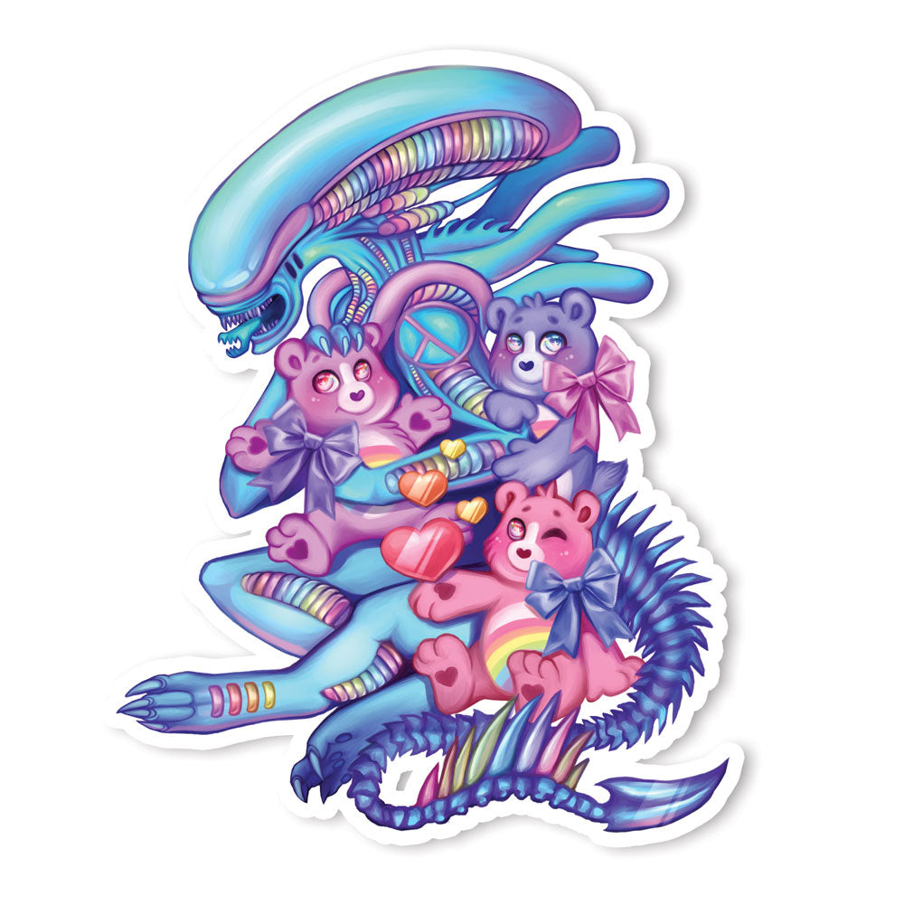 Cuddle Time Xenomorph Holographic Sticker