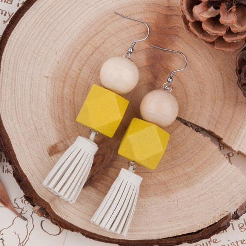 Yellow + Natural Square Wood Tassel Earrings
