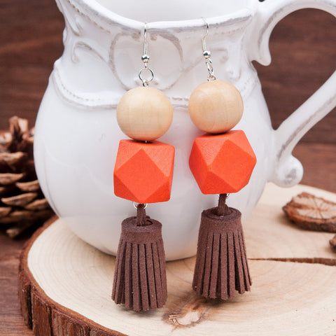 Orange + Coffee Brown Wood Tassel Earrings